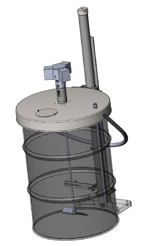 3099-55EL-300 - 55 Gallon Direct Drive Agitator with Elevator and Drum Lid